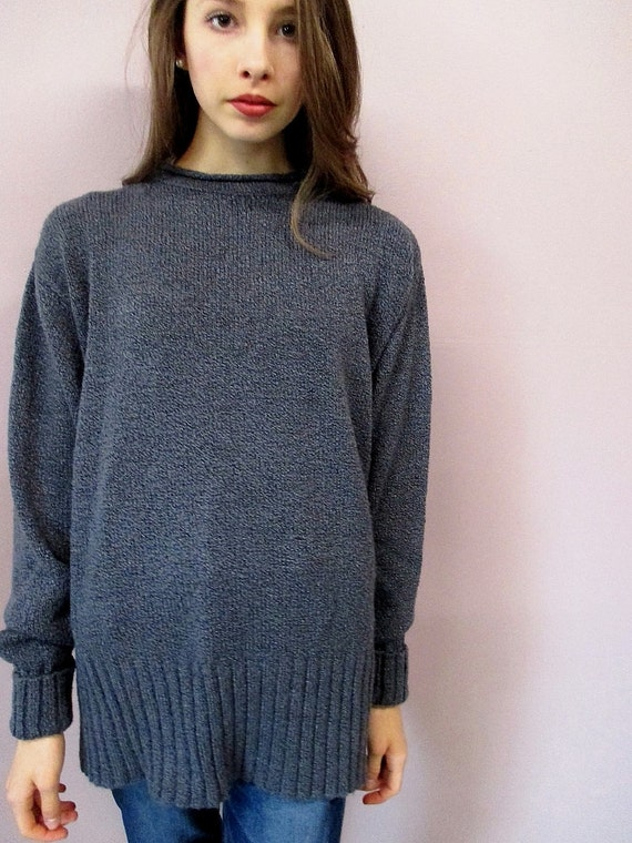 Oversize Knit Grey Sweater  vintage 90s grunge boyfriend  c8c86aab7