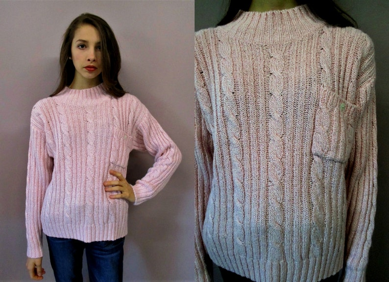 fa224b5e9 Vintage Cable Knit Sweater  pink knit sweater pullover