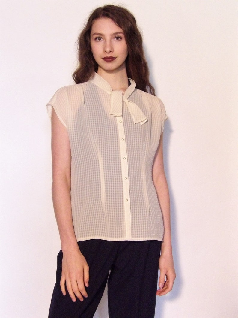 Vintage Sheer 60s Blousepearl button blouse pussycat bow ivory cap sleeves top shirt 1960s retro