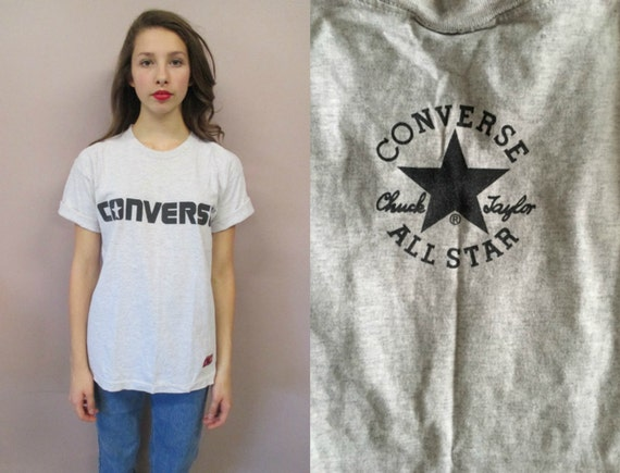Vintage Graphic Converse TeeChuck Taylor All Star grety cotton 90s baggy made in USA cotton t shirt top size XS Small Med