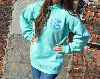 Scalloped Lilly Pulitzer Monogrammed Comfort Colors Quarter Zip Pullover Sweatshirt