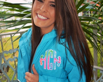 Monogram Rain Jacket Preppy Charles River New Englander Rain Jacket with Scalloped Lilly Pulitzer Double Monogram Wind Jacket