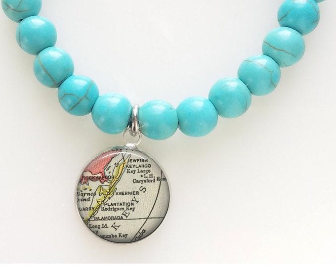 Florida Keys Islamorada Turquoise Map Bead Bracelet - Florida Beaded Bracelet - Map Bracelet - Travel Gift Bracelet