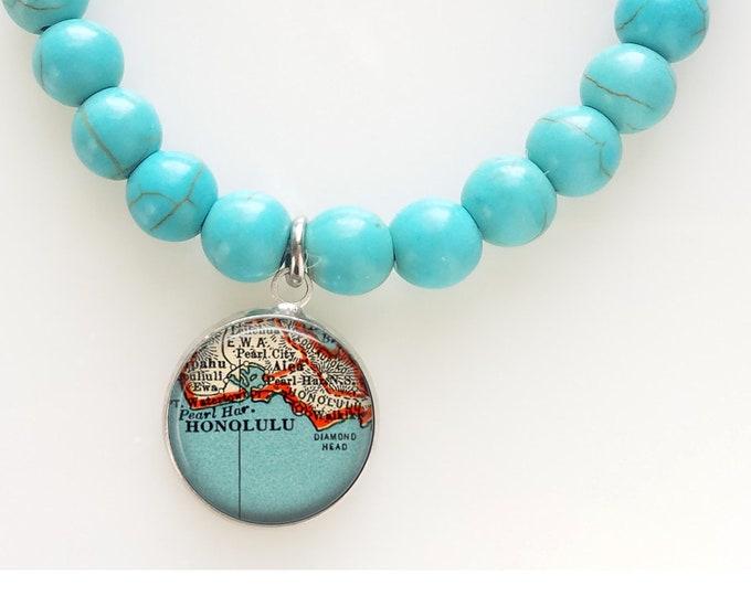 Honolulu Turquoise Map Bead Bracelet - Hawaii Beaded Bracelet - Oahu Map Bracelet - Travel Gift Bracelet