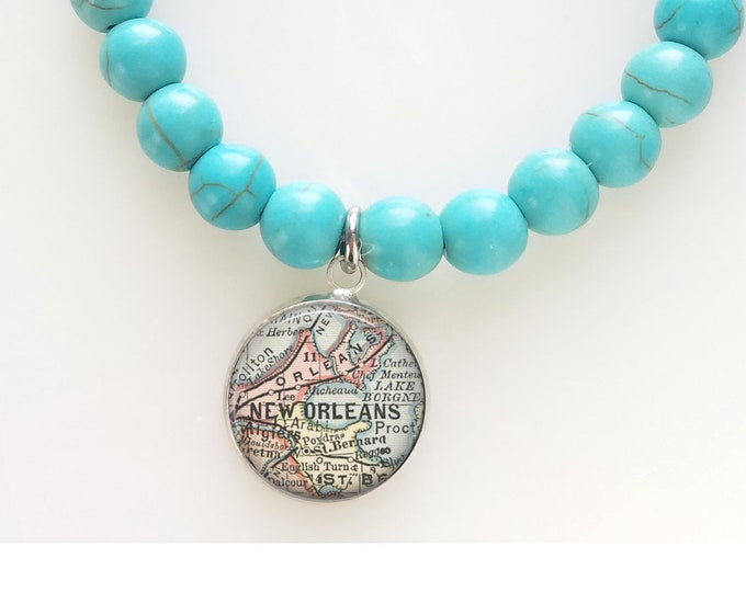 Turquoise Map Bead Bracelet - New Orleans Beaded Bracelet - NOLA Map Bracelet - Travel Gift Bracelet
