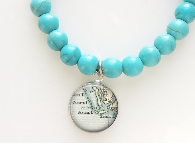 Turquoise Map Bead Bracelet - Sanibel Island Beaded Bracelet - Florida Map Bracelet - Travel Gift Bracelet