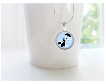 Nanny Gift Babysitter Gift Mary Poppins Sterling Silver Pendant Necklace