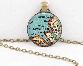 Liverpool England UK Vintage 1938 Map Geography Gift  Pendant Necklace or Key Ring