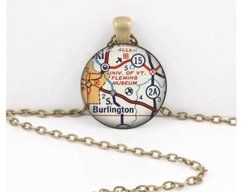 University of Vermont Burlington VT Vintage Map Geography Gift  Pendant Necklace or Key Ring