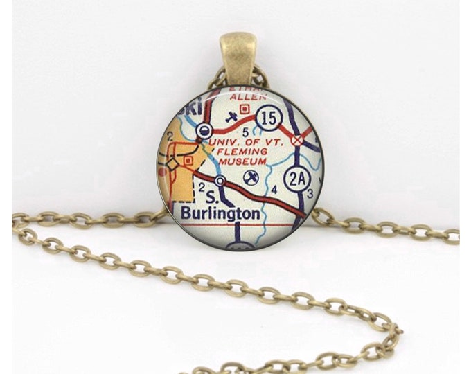 University of Vermont Burlington VT Vintage Map Geography Gift  Pendant Necklace or Key Ring