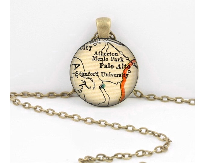 Stanford University Palo Alto Map California Pendant Vintage Map Geography Gift  Pendant Necklace or Key Ring