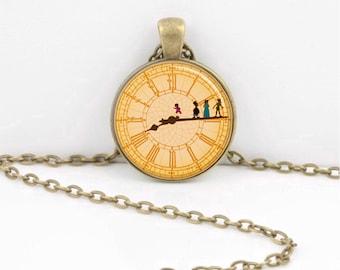Peter Pan Neverland Big Ben London Necklace Peter Pan Clock Jewelry or Key Ring