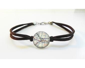 Kansas State University KSU Manhattan Kansas Map Bracelet - Vintage Map - Leather Bracelet -  Map Jewelry