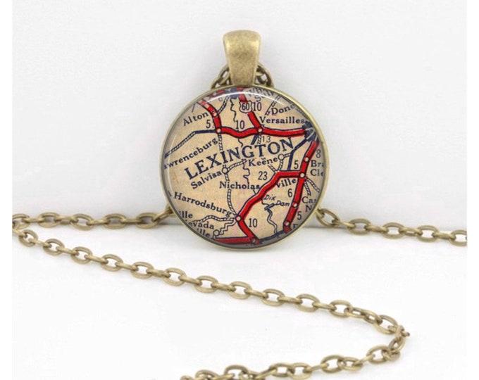 Lexington Kentucky Vintage Map Keepsake Vintage Map Geography Gift  Pendant Necklace or Key Ring