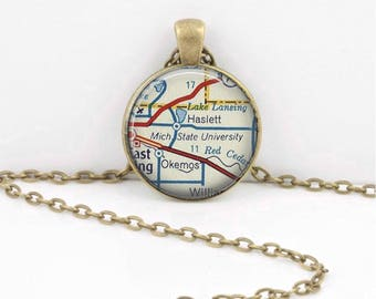 Michigan State University Map Geography Gift Graduation Gift New Grad Pendant Necklace or Key Ring