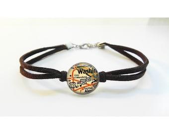 University of Maryland Map Bracelet - Vintage Map - Leather Bracelet -  Map Jewelry