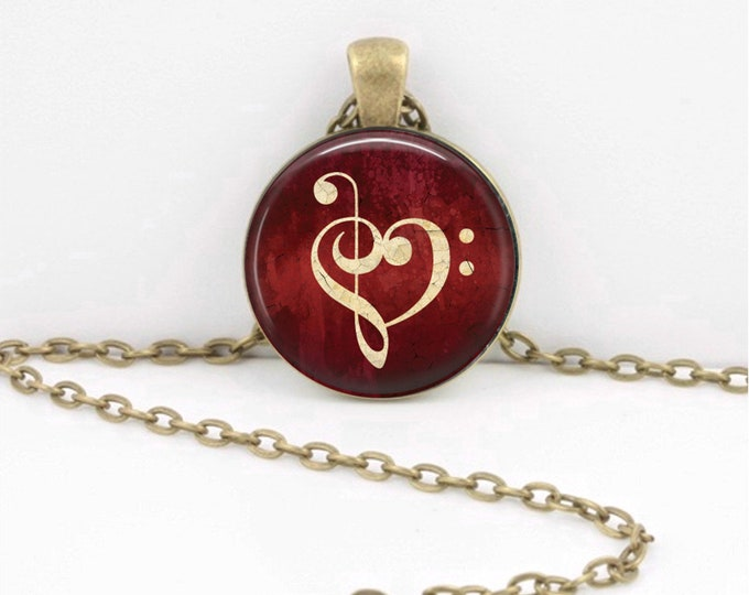 Music Heart Bass Treble Clef Musician Gift Music Lover Art Pendant Necklace Inspiration Jewelry or Key Ring