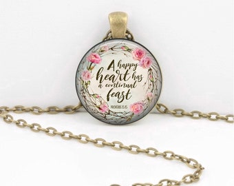 A Happy Heart Proverbs Bible Quote Pendant Strength Scripture Christian Pendant Necklace Key Ring