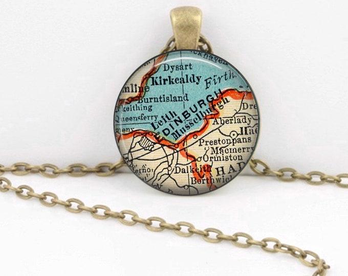 Edinburgh Scotland Vintage 1938 Map Geography Gift  Pendant Necklace or Key Ring
