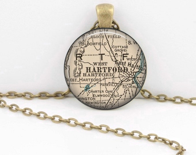 Hartford Connecticut Vintage 1927 Map Geography Gift  Pendant Necklace or Key Ring