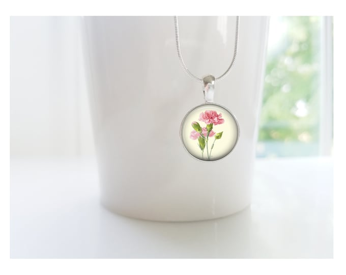 January Carnation Flower of the Month Pendant, Sterling Silver Birthday Necklace, Bridesmaid Gift, Birth Month Flower Gift