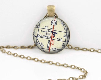 Temple University Philadelphia New Grad Alumni Gift  Vintage Map Pendant Necklace or Key Ring