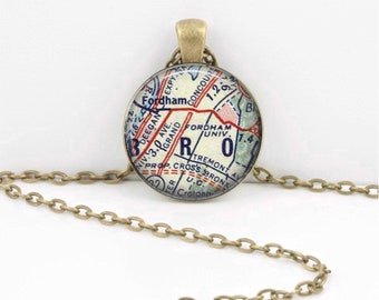 Fordham University New York Grad Alumni Gift  Vintage Map Pendant Necklace or Key Ring