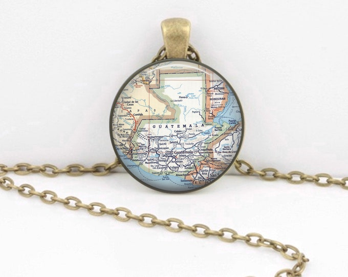 Guatemala Map Vintage Map Geography Gift  Pendant Necklace or Key Ring