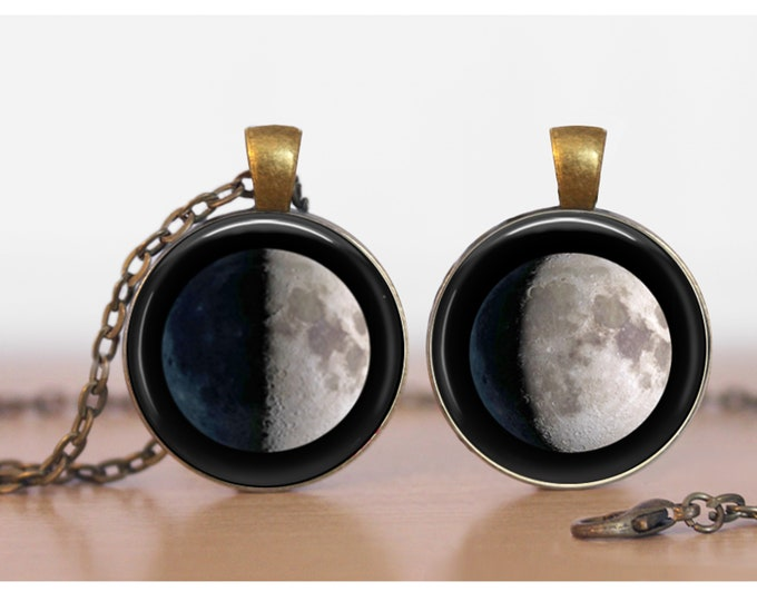 Moon Phase Double Sided  Pendant Two Moons Double Pendant Two Sided Necklace