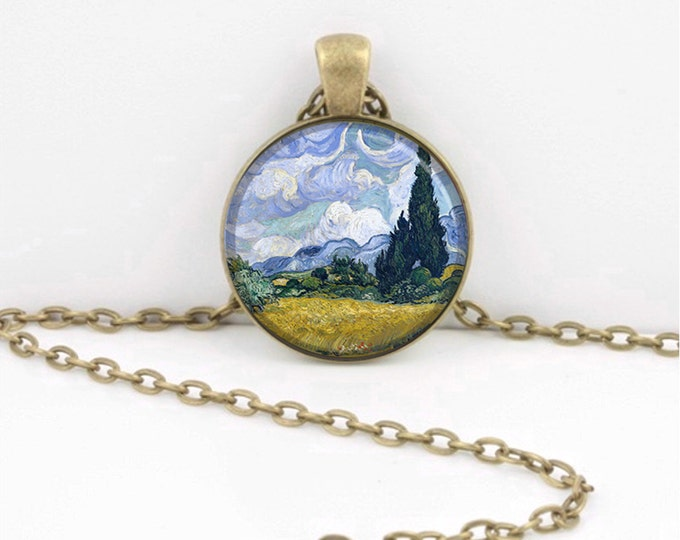 Landscape Van Gogh Cypresses  Art Pendant Necklace Inspiration Jewelry or Key Ring