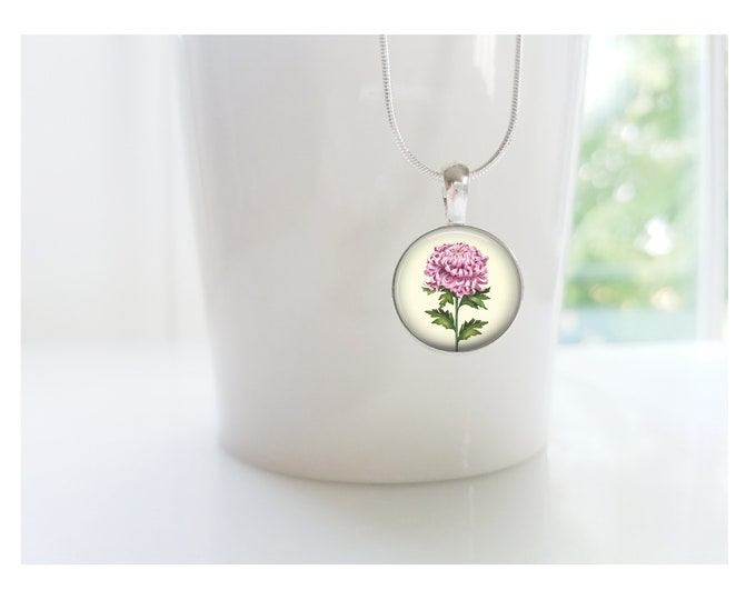 Chrysanthemum November Birth Flower of the Month Pendant, Sterling Silver Birthday Necklace, Bridesmaid Gift, Birth Month Flower Gift