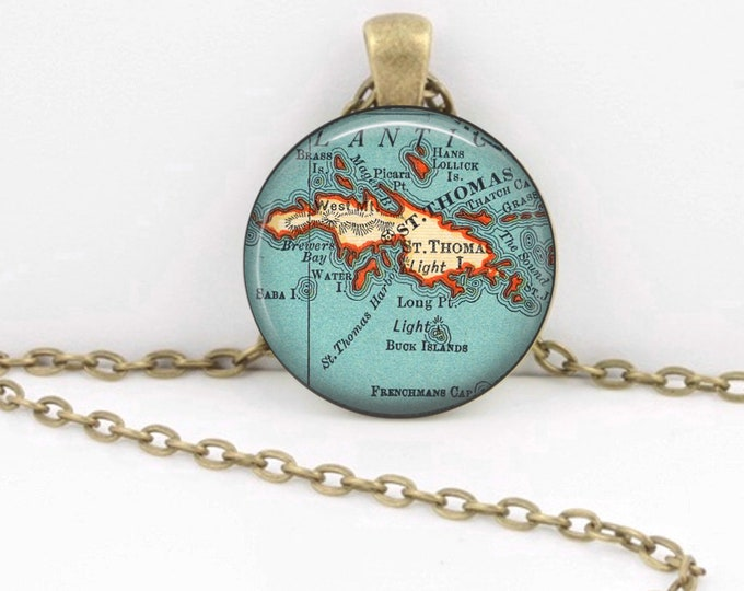 Virgin Islands St. Thomas Vintage 1938 Map Geography Gift  Pendant Necklace or Key Ring