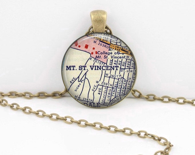Mount St. Vincent College New York NY Gift Vintage Map Pendant Necklace or Key Ring
