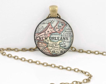 New Orleans -NOLA - Louisiana - Map Necklace Jewelry Vintage Map Pendant Necklace or Key Ring
