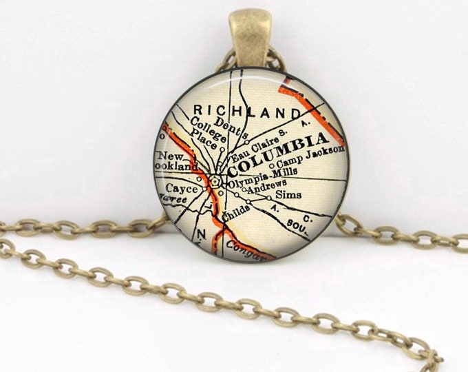 Columbia South Carolina Vintage 1938 Map Geography Gift  Pendant Necklace or Key Ring