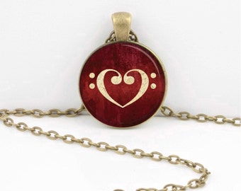 Music Heart Bass Clef Musician Gift Music Lover Art Pendant Necklace Inspiration Jewelry or Key Ring