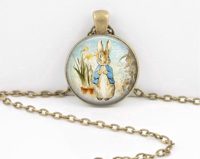 Peter Rabbit Beatrix Potter Classic Children's Story Glass Pendant Necklace or Key Ring