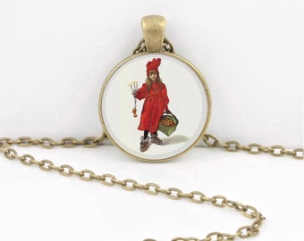Carl Larsson Scandinavian Holidays Christmas Art Pendant Necklace Inspiration Jewelry or Key Ring