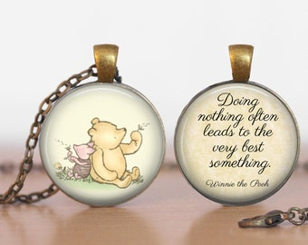 "Winnie the Pooh and Piglet ""Doing Nothing""  Gift Winnie the Pooh and Piglet Pendant Two Sided Necklace or Key Ring"