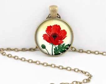 Red Poppy Poppies Floral Flowers Poppy Jewelry Gift Pendant Necklace Inspiration Jewelry or Key Ring