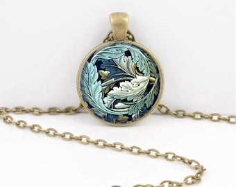 Floral Leaf William Morris Vintage Fabric Print Pendant Necklace Inspiration Jewelry or Key Ring