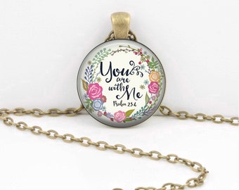 You are With Me | Psalm Pendant | Key Ring | Christian Gift | Confirmation Gift | Retreat Gift