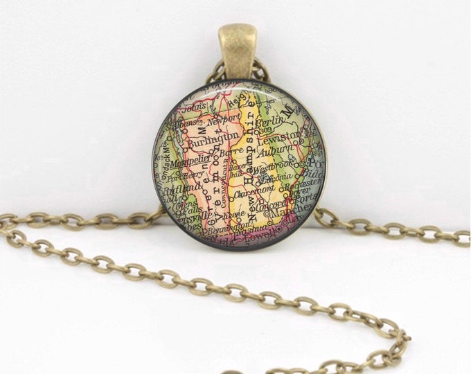 Vermont and New Hampshire Map Gift  Vintage Map Pendant Necklace or Key Ring