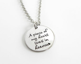 A Piece of my heart lives in heaven - wing - pearl - memorial gift - memorial jewelry -  Silver Stamped  Necklace or Key Ring