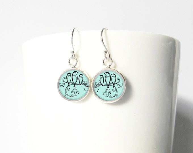 Three Little Birds Summer Blue Tiny Earrings Pendant Sterling Silver Dangle Jewelry