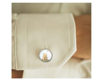 Winnie-the-Pooh Honey Pot cufflinks, men cufflinks, Father's Day Gift, glass dome cufflinks, glass cufflinks, men accessories, gift for men