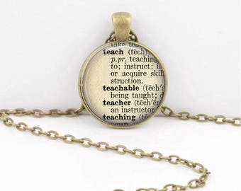 Teacher Vintage Dictionary Page Teacher Gift  Pendant Necklace or Key Ring