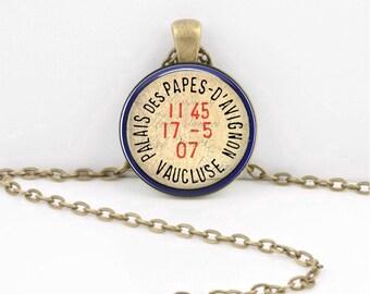 French Postmark Paris Avignon Nostalgia Ephemera Pendant Necklace Inspiration Jewelry or Key Ring