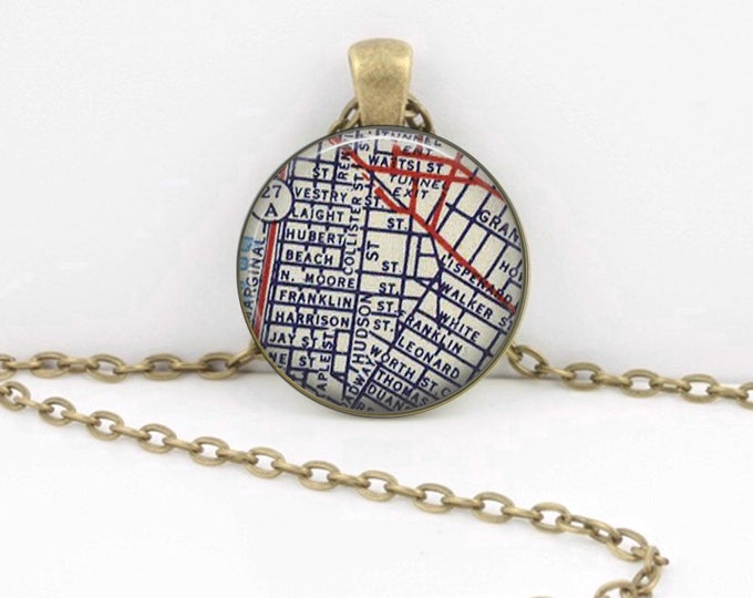 Tribeca Manhattan New York Downtown NY Gift Vintage Map Pendant Necklace or Key Ring