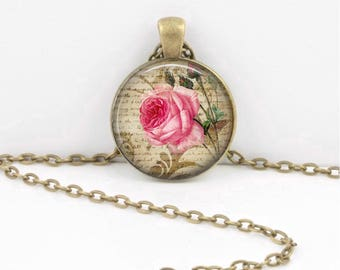 Vintage Rose Vintage Print Art Pendant Necklace Inspiration Jewelry or Key Ring